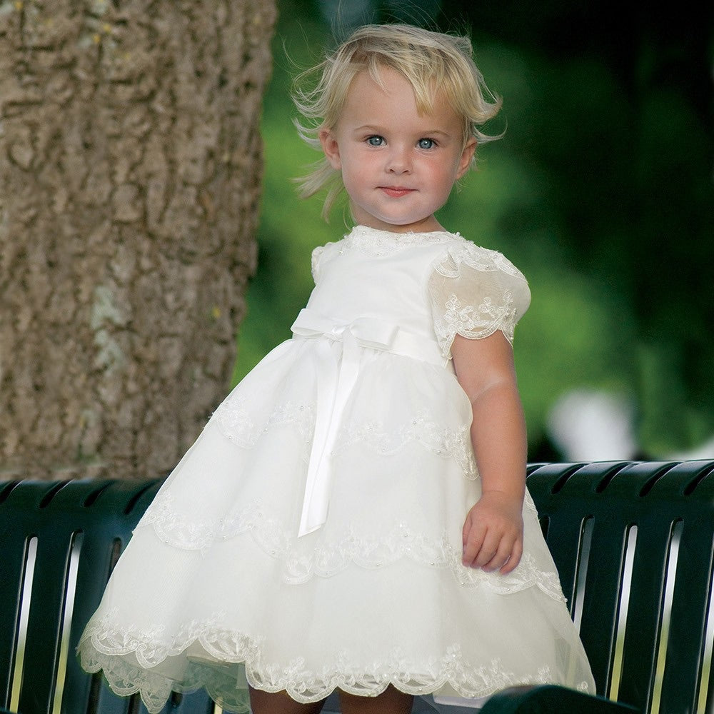 Girls Ceremonial Ballerina Length Dress. Short Puffed Sleeves Adorned Pearls with Delicate Lacey Embroidery.