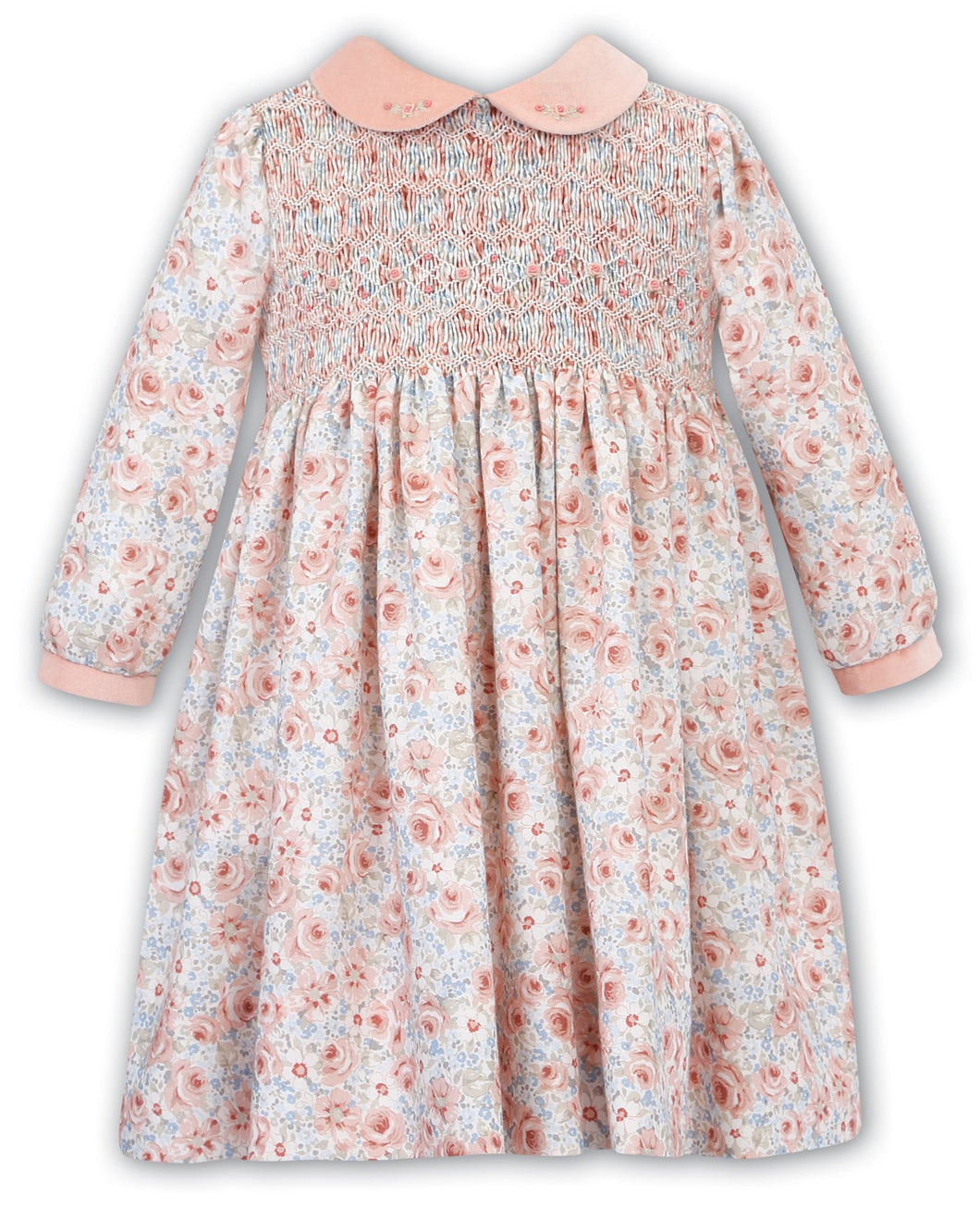 Girls Traditional Hand Smocked and Embroidered Floral Print Long Sleeved Dress with Contasting Peter Pan Collar