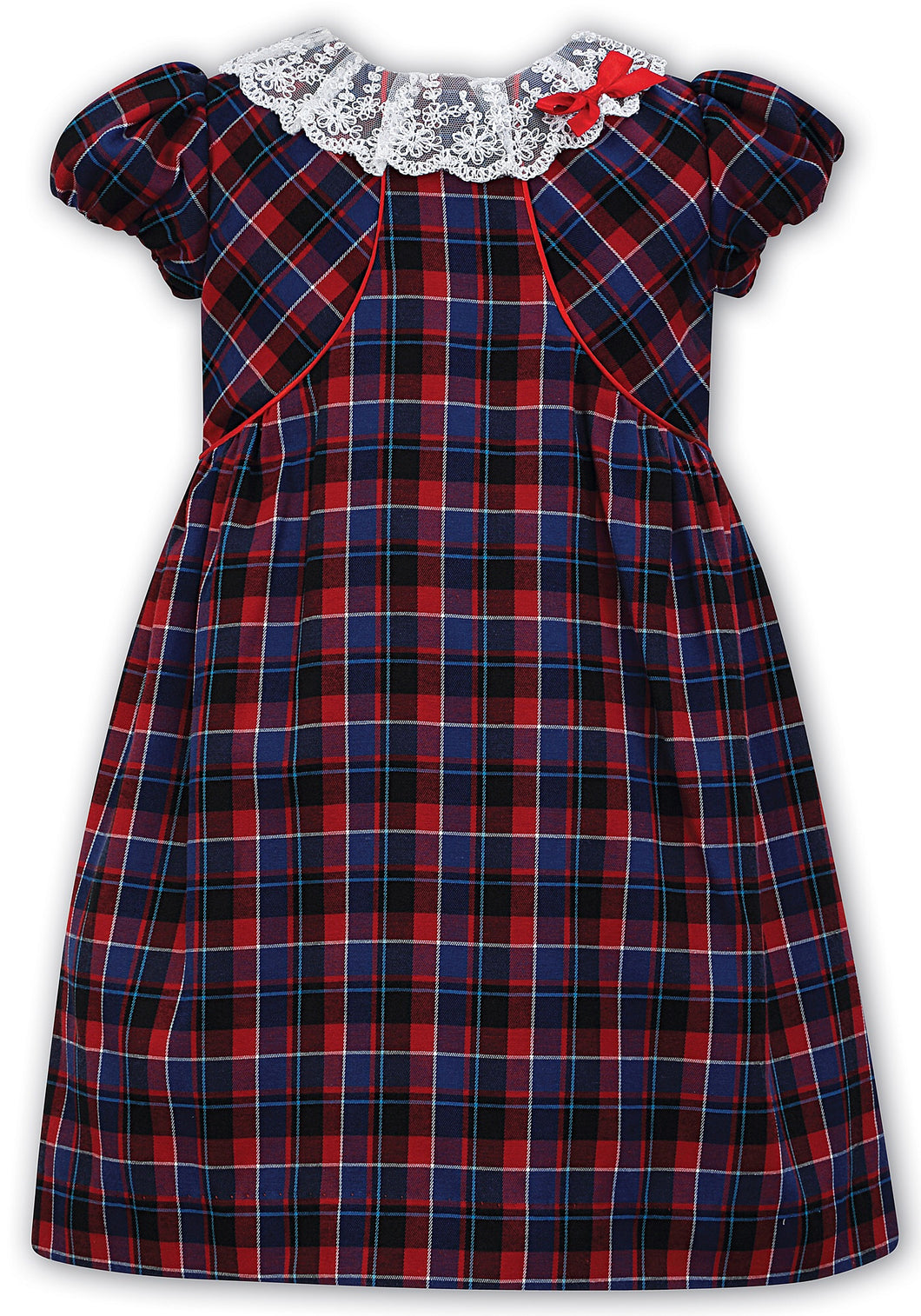 Girls Short Sleeved Tartan Dress with Piping Detailing a Bolaro Top, Delicate Lace with Velvet Bow Trim on Neckline