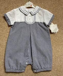 Baby Boys Short Sleeved Romper, Gingham Fabric with Crisp Cotton Detailed Stitched Top. Peter Pan Detailed Collar