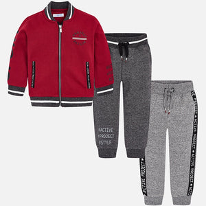 Boys 3 Piece Track Suit, 2 Pairs of Detailed Bottoms with Zip Up Detailed Jacket, Trim Cuffs and Collar