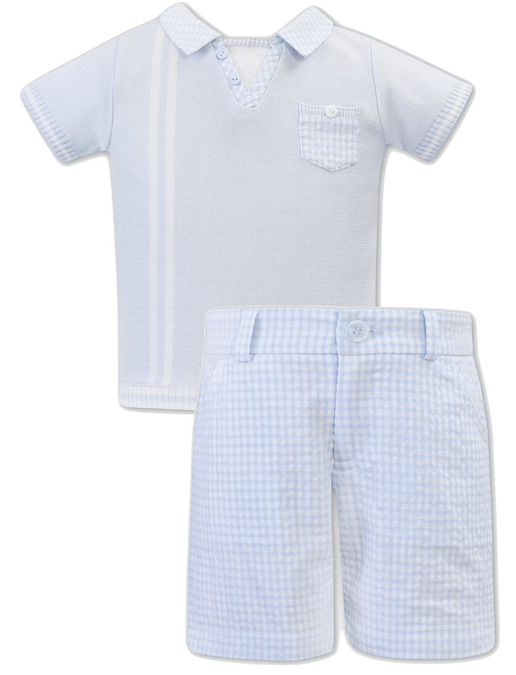 Boys Shorts Set, Short Sleeved Polo Top with Contrasting Collar and Breast Pocket, Stripe Detail, Checked Shorts with Adjustable Waist