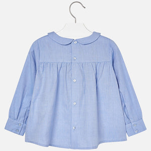 Girls Oxford Long Sleeved Blouse with Bow Detail