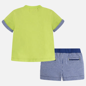 Boys Scooter T-Shirt & Striped Shorts Set