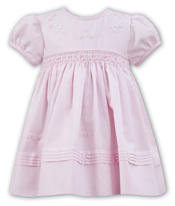 Traditional Hand Smocked and Embroidered Short Sleeved Dress with Frilled Neckline and Detailed Hemline