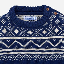 Boys Knitted Jacquard Detailed Sweater with Round Neckline and Side Button Opening