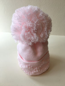 Single Pom Hat - Diamond Pattern - Pink