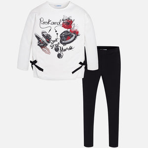 Girls Loose Fitting, Split Hem with Bows, Long Sleeved Print and Stud Detailed T-Shirt and Stretch Leggings
