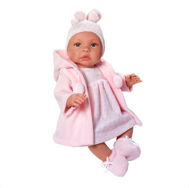Beautiful Spanish Baby Girl Doll, Clothed in a Pink Knitted Dress, Cardigan and Knitted Hat. Boxed