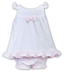 Baby Girls Sun Dress and Panty Set, Sleeveless Broderie Anglaise Dress with Contrasting Bow Detail Trim, Frill Hemline and Panties