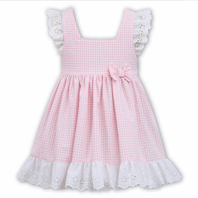 Gorgeous Gingham Pinafore Style Dress, Delicate Broderie Anglaise Lace Trim on Cross Over Sleeve and Hemline
