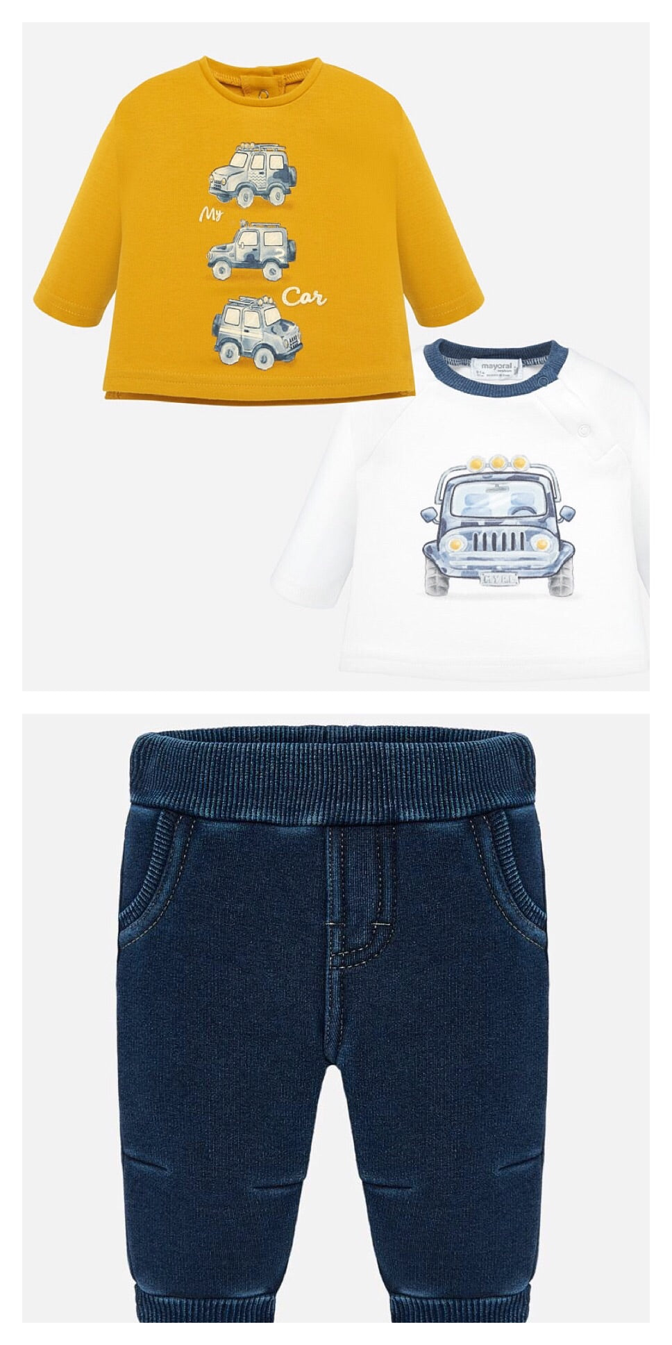 Baby Boys 2 Piece Set Long Sleeved T Shirt with Car Designed Front in Soft Cotton and Soft  Feeling Lined Denim Trousers with 5 Mock Pockets