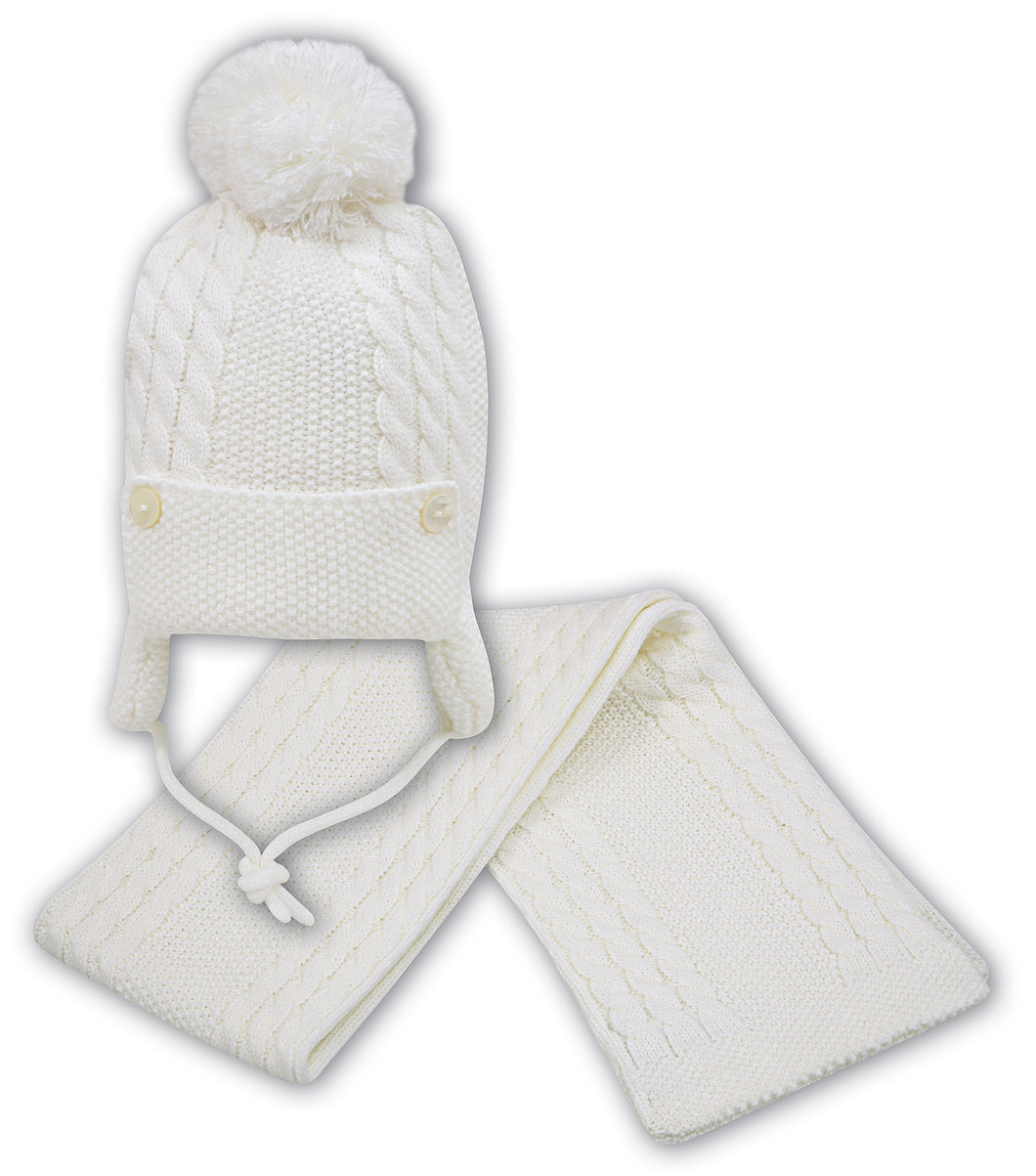 Baby Boys Chunky Cable Knit Pom Hat with Ear Protectors and under Chin Fastening. Button Detail on Front, Matching Scarf
