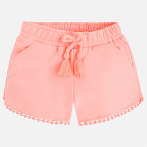 Girls Cotton Shorts With Detailed Edging With Front & Back Pockets
