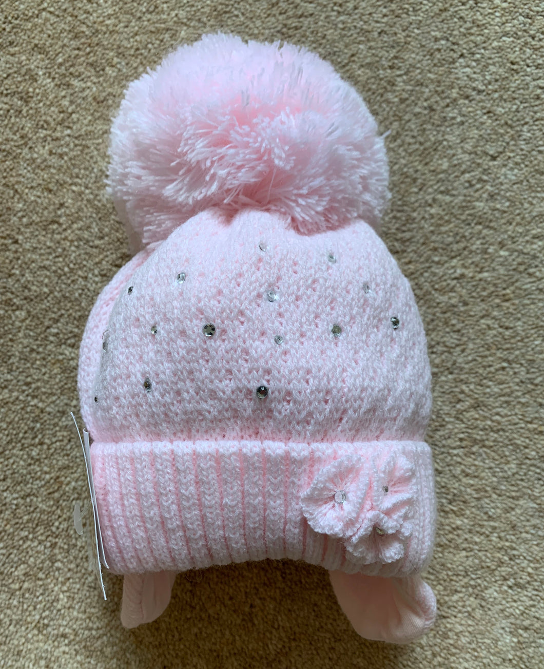 Baby Girls Diamante Pom Hat with Flower Trim