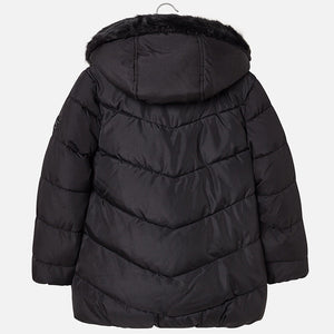 Girls Shimmery Effect Padded Coat with Front Pockets and Fur Trimmed Hood