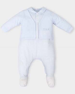 Baby Boys Embroided Detailed Top Cotton Stripped Romper