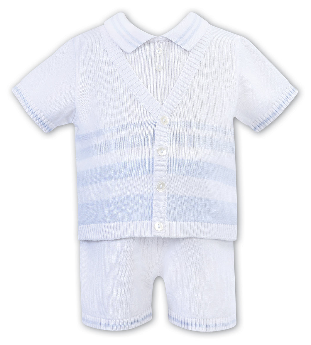 Baby Boys Short Sleeved Fine Knit Set with Contrasting Stripe and Button on Polo, Waistcoat Detailed Top