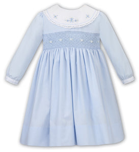 Baby Girls Long Sleeved with Embroidered and Applique Detail, Traditional Smocked Dress with Bib Detailed Neckline