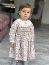 Girls Floral Long Sleeved Dress Traditional Hand Smocking and Embroidery. Contrasting Trim to Sleeves and Yoke Style Neckline