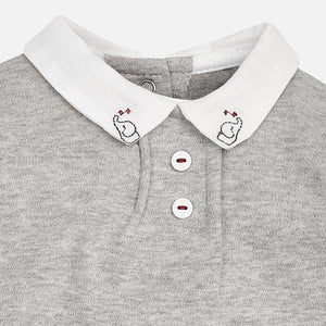 Baby Boys Long Sleeved Polo Collar Body with Embroidered Elephant on Corner of Collar