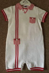 Baby Boys Fine Knit All in One, Checked Collar and Breast, Waist Pockets, Stripped Detail to Front, Sleeves and Legs