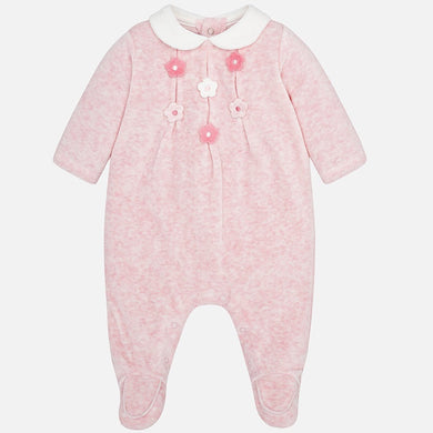 Baby Girls Velour Romper with Flowered Applique Detail Front and White Peter Pan Collar