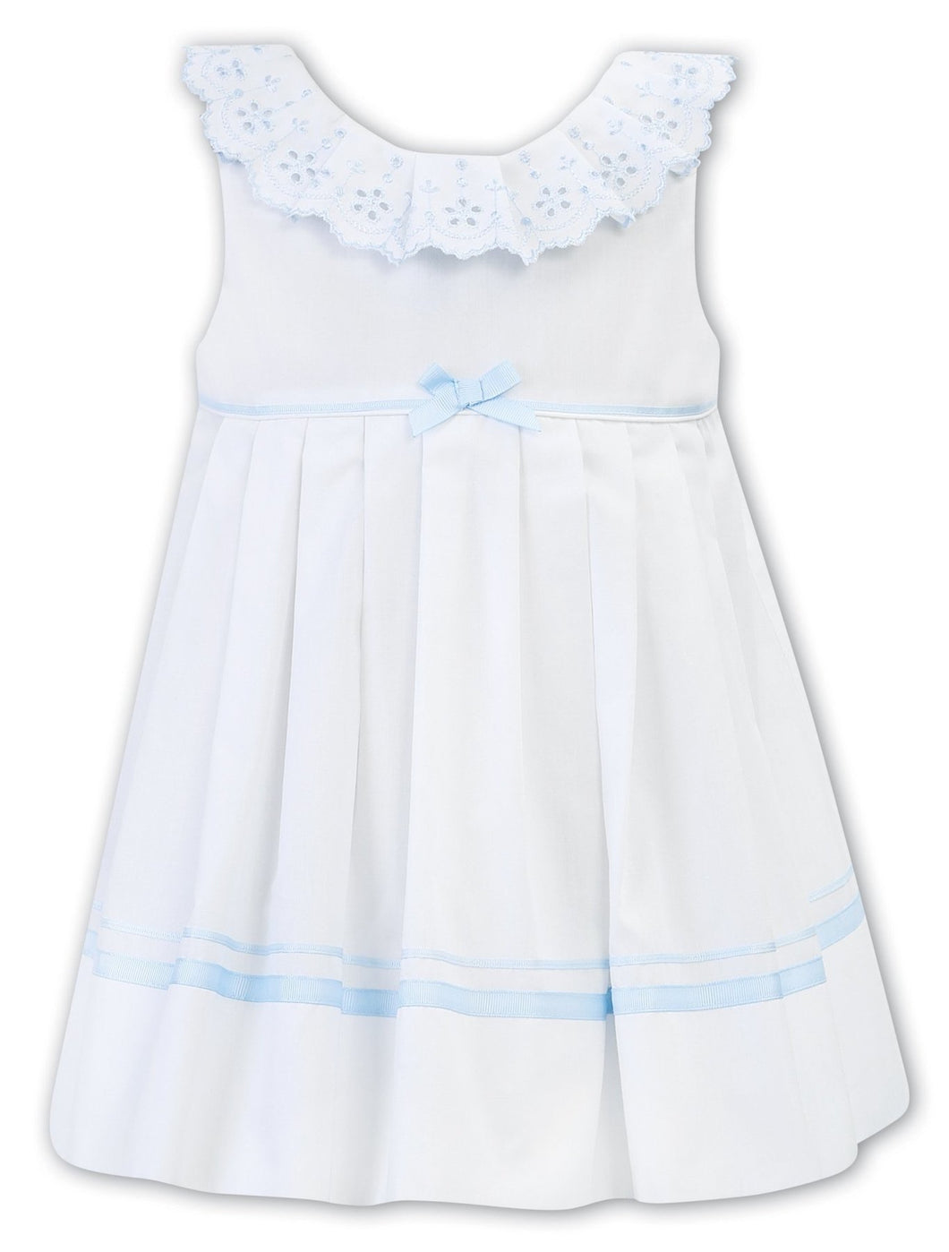 Girls Sleeveless Dress with Embroidered Detailed Frilled Collar, Ribbon and Bow Trim Detail on Waist and Hemline, V Back