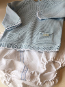 Baby Boys Detailed Knitted Top with Front Pockets and Lace Trimmed Jam Style Pants