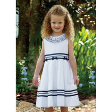 Girls Sleeveless Dress with Embroidered Detailed Collar, Ribbon and Bow Trim on Waist Ribbon Trim on Hemline