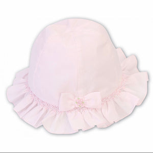 Girls Sun Hat, Smocking and Frill Detail with Embroidered Detailed Bow.  Under Chin Tie