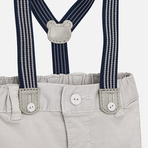 Baby Boys Grey Soft Chino Trousers with Stripped Detailed Braces