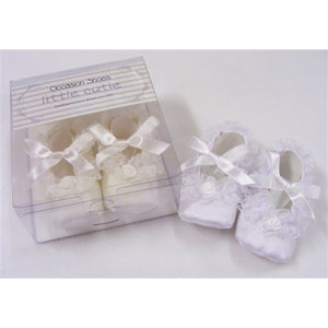Baby Girls Silk Look Frilly Bow Tie Shoes