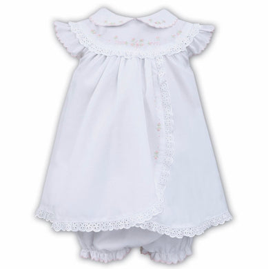 Baby Girls Frill Trimmed Sleeveless Delicate Embroidered and Beautiful Lace Trim Dress and Panty Set