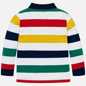 Boys Long Sleeved Polo Shirt with Block Colour Stripes in Cotton Fabric