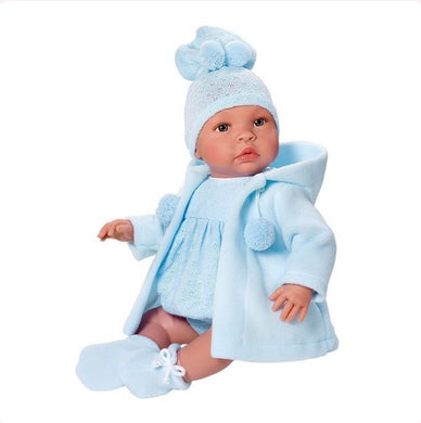 Beautiful Spanish Baby Doll clothed in Blue Knitted Romper, Hooded Cardigan, Bootees,Knitted Hat and Soother. Boxed