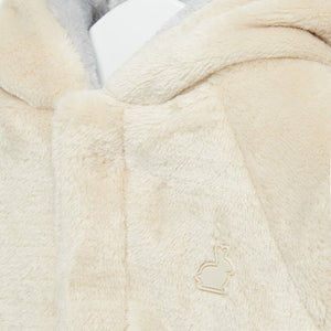 Reversable Hooded Baby Coat in Super Soft Faux Fur Fabric with Hidden Clasps. Neutral Colours Unisex