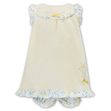 Baby Girl A Line Sleeveless Dress with Embroidery and Floral Detailed Trim on Sleeve, Hemline and Yoke with Matching Floral Pants