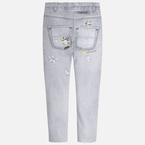 Girls Grey Jeggings / Leggings with Additional Detail
