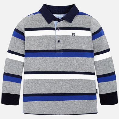 Boys Long Sleeved Stripped Polo Shirt with Contrasting Cotton Collar and Cuffs
