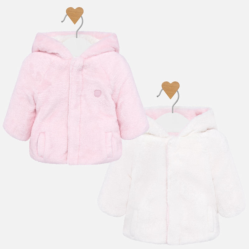 Reversible Hooded Baby Girl Coat in Super Soft Faux Fur Fabric with Hidden Fastening Clasps