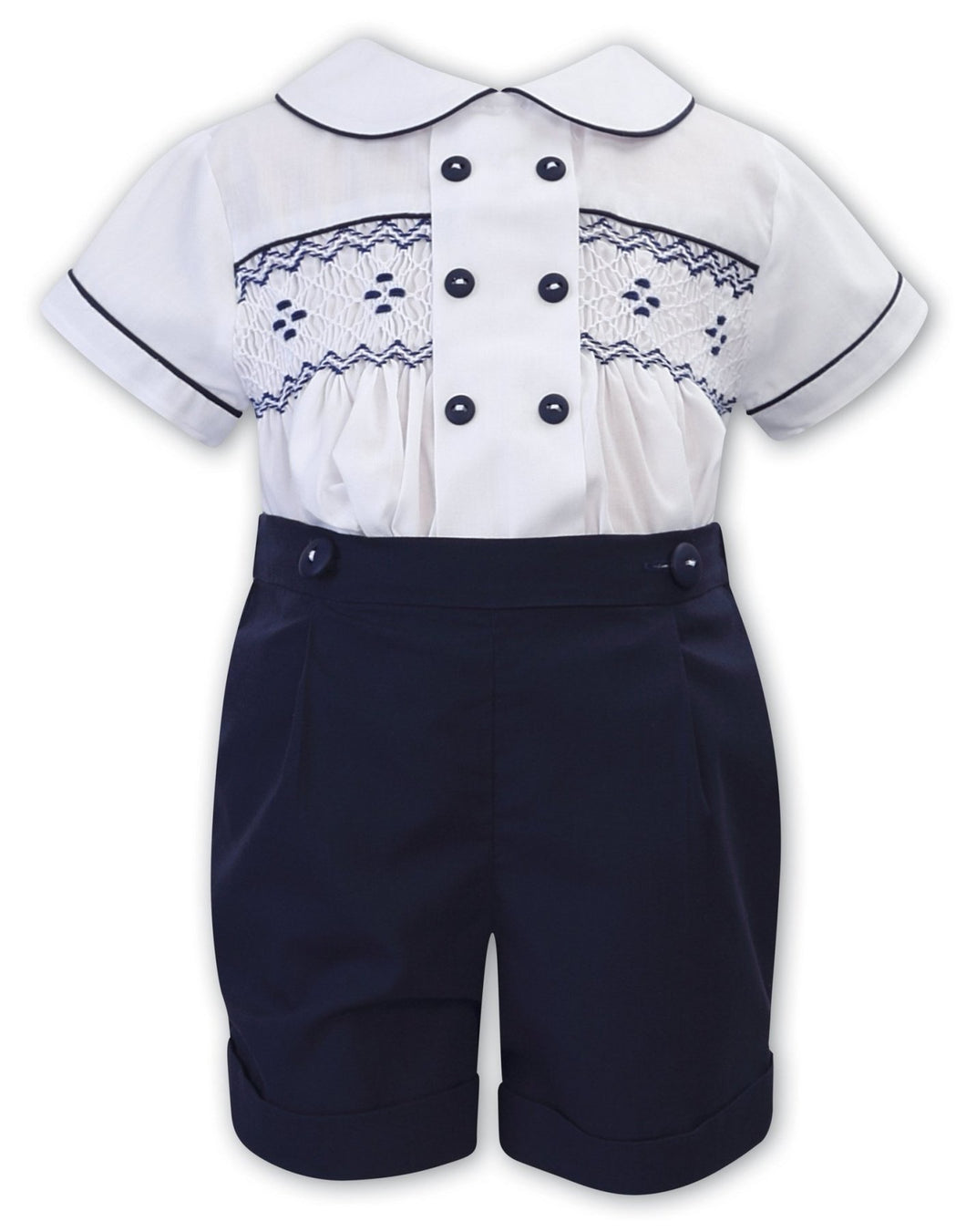 Boys 2 Piece Short Sleeved Set, Hand Smocking, Embroidered and Button Detail Shirt with Peter Pan Trimmed Collar, Shorts with Button Fastening to Shirt