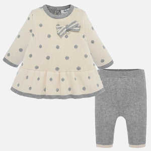 Girls Fine Knit 2 Piece Legging Set, Polka Dot Detailed Top with Frilled Hemline and Plain Contrasting Bottoms