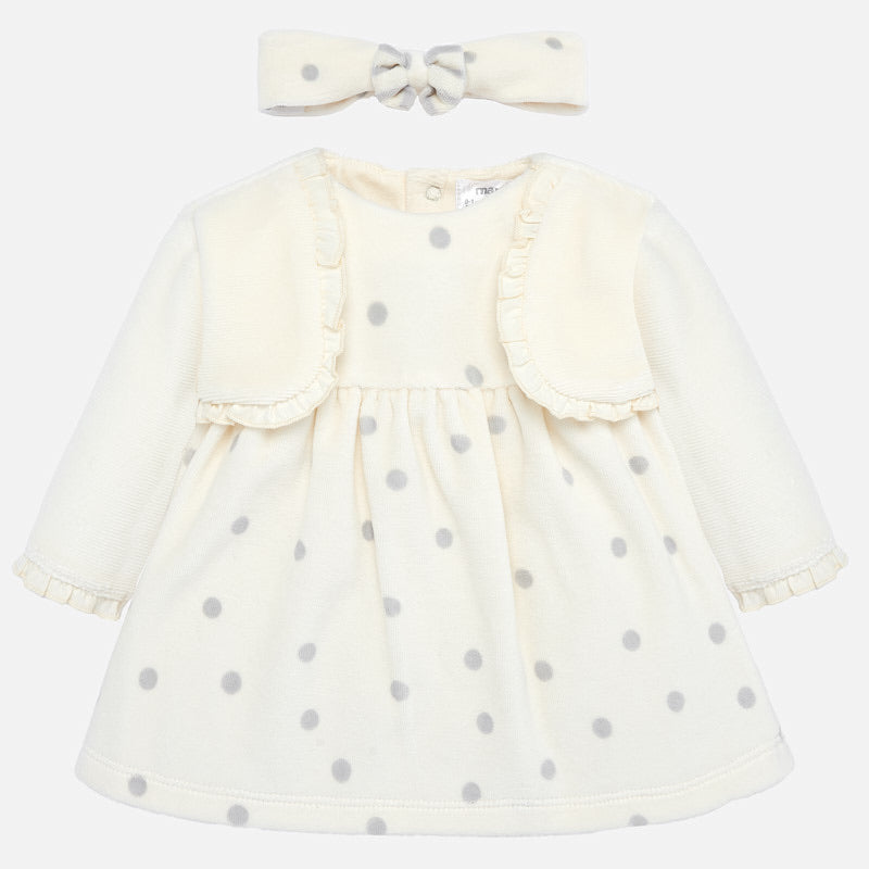 Baby Girl Soft Velour Polka Dot Cotton Dress with Attatched Trimmed Bolaro Top and Matching Bow Headband