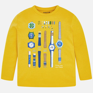Boys Long Sleeved T-Shirt with Watch Detail Print on Front