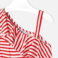 Girls Striped Playsuit with Ruffles on Neckline and One Shoulder, Elasticated Waist and Tie Belt