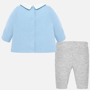 Baby Boys Knitted set, Long Sleeved Top with Collar, Dettailed Car Motif and Front Pockets with Long Trousers in contrasting Colour.