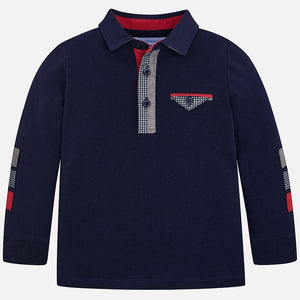 Boys Long Sleeved Polo Shirt with Detailed Top Pocket and Button