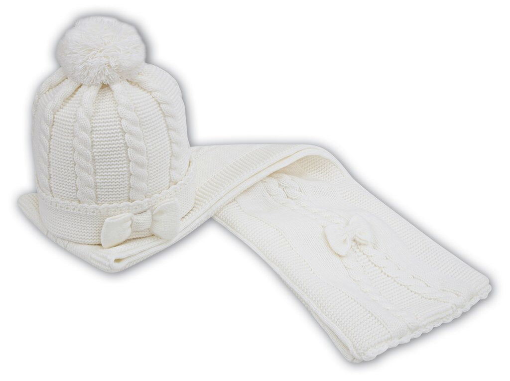 5d26078dd0b Sarah Louise - Girls Bow Detailed Cable Knitted Hat and Scarf set ...
