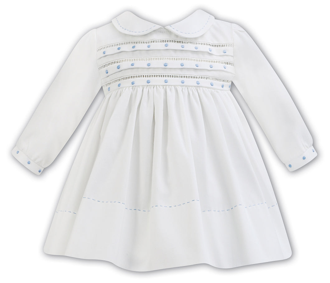 Girls Long Sleeved Dress with Delicate Embroidered Detail to Chest, Peter Pan Collar and Sleeves